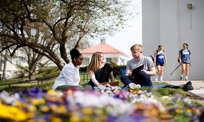 A trio of students gather on the grounds of Marymount University