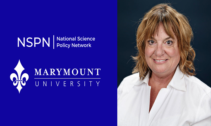A photo of Wiki Scientist Dr. Donna Schaeffer, alongside logos for the National Science Policy Network and Marymount University