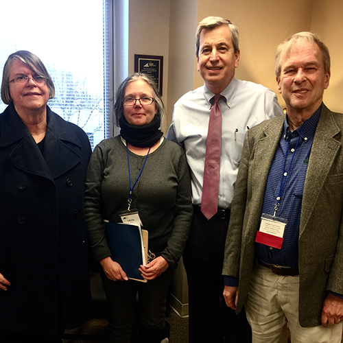 Stephanie Niedringhaus standing with Va. Delegate Rip Sullivan (second from right) and two other constituents after a lobby visit in Richmond.