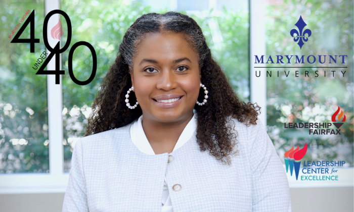 Brooke Berry poses on the campus of Marymount University alongside logos of the Norther Virginia 40 Under 40 list, Marymount University, Leadership Center for Excellence and Leadership Fairfax