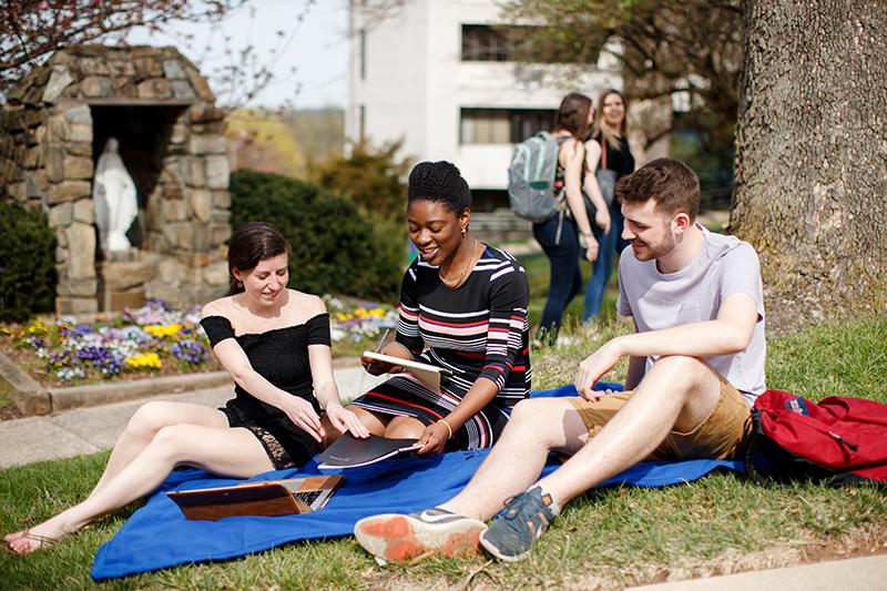 Marymount University students relaxing photo