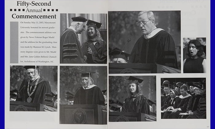 Pages from Marymount University's 2003 yearbook showing photos from the year's commencement ceremony