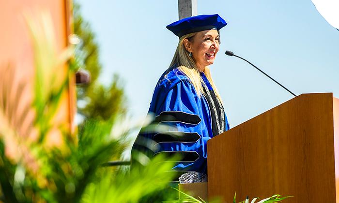 Marymount University President Irma Becerra speaks during the 2021 Commencement Ceremonies