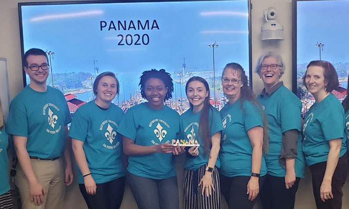 Allen, third from left, alongside fellow Special Education students. As part of the Global Education Series, students and professors planned a trip to Panama, but it was canceled due to the pandemic.