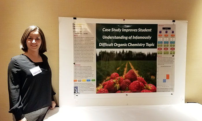 """Dr. Deana Jaber presents """"From Strawberry Fields to the Chemistry Classroom"""" at the National Center for Case Study Teaching in Science Conference in Buffalo, N.Y. in 2019."""