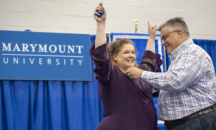 Marymount Nursing student receives her honorary pin.