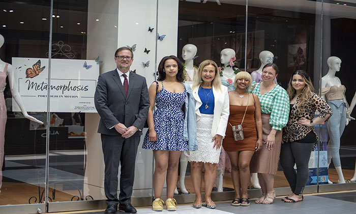 Marymount President Irma Becerra joins the three featured designers, Professor Julia Ravidran and Mall Director Todd Jerscheid.