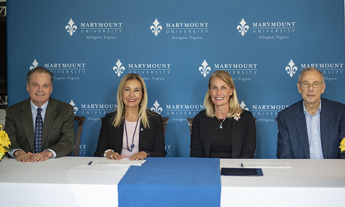 Marymount University signs an agreement to support the NVTC Foundation Kilberg Scholarship Fund.
