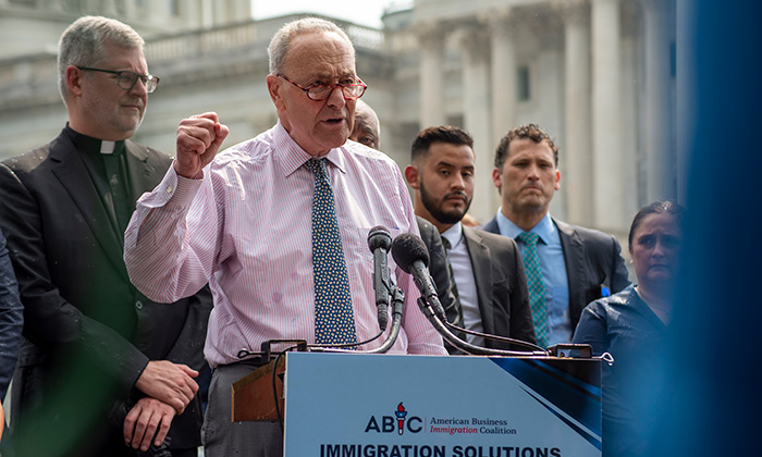 Senate Majority Leader Chuck Schumer speaks during the American Business Immigration Coalition press conference