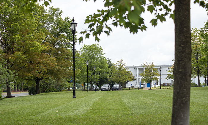 A side view of the front lawn green space at Marymount University