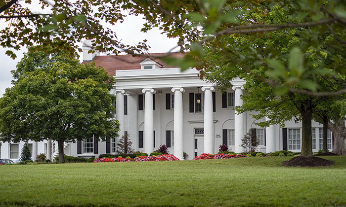 The newly restored front lawn at Marymount University