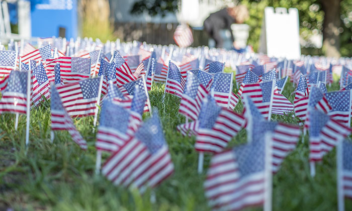 Thousands of flags decorate Ireton Lawn